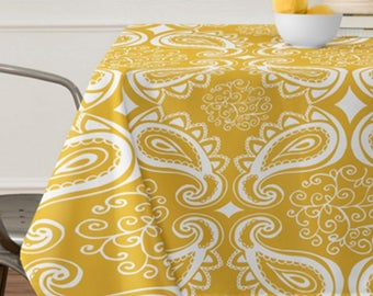 Yellow Paisley Tablecloth // Table Linens // Dining Room // Boho Tablecloth // Table Decoration // Bohemian Chic // Paisley // Yellow Gold