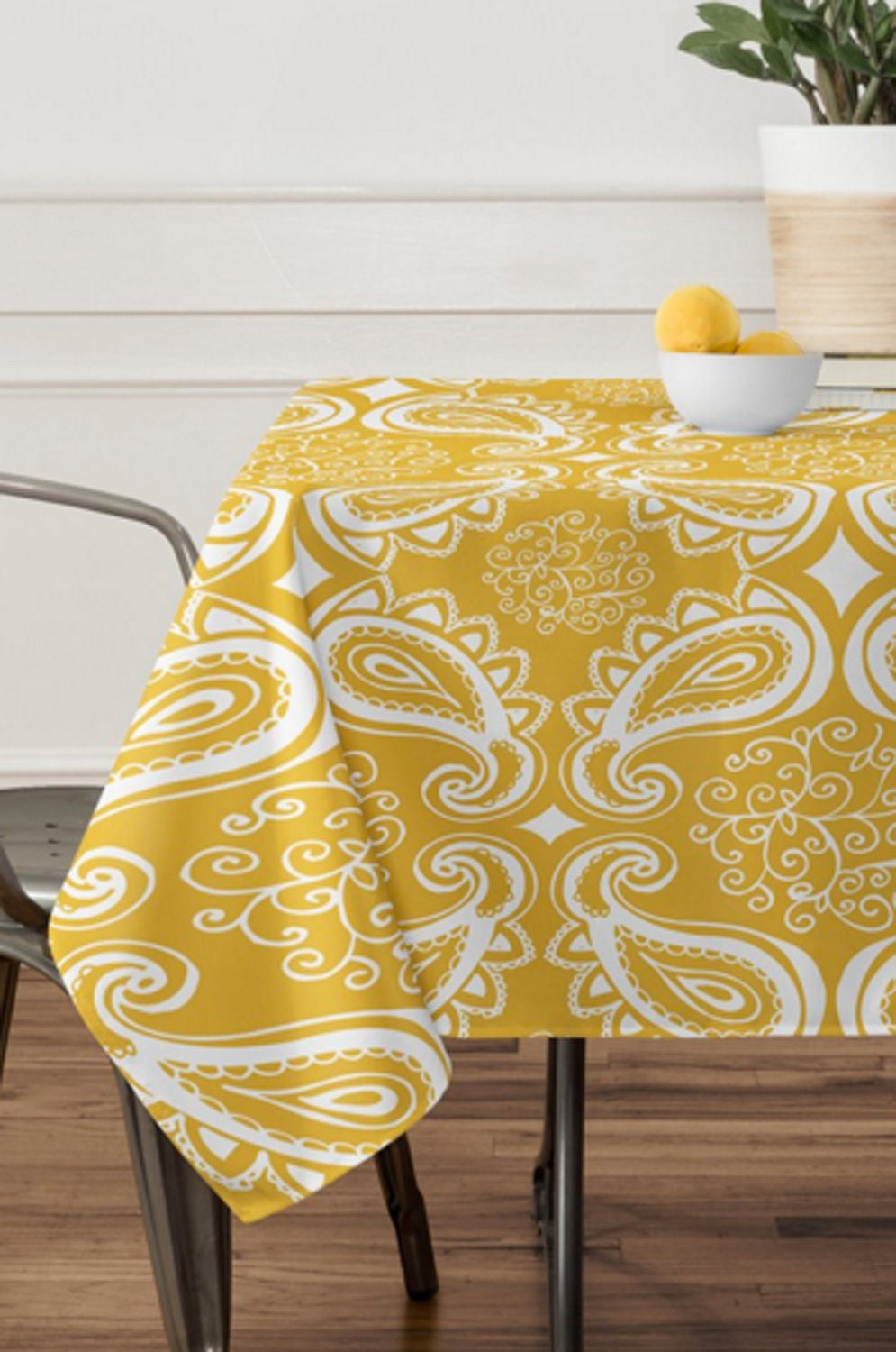 yellow paisley tablecloth table linens dining room