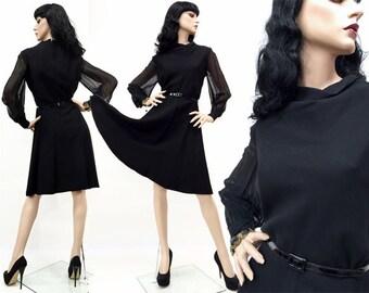 Vintage 50s Pin Up Rockabilly Dress Blk Sheer Long Chiffon Sleeves Mini 40s L