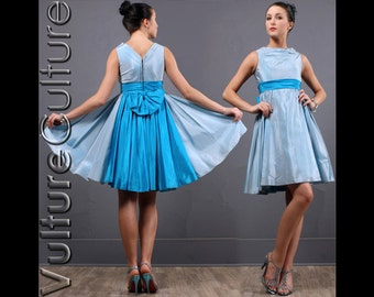 Vintage 50S Rockabilly PinUp Dress Blue Satin Full Crinoline Swing Party XS