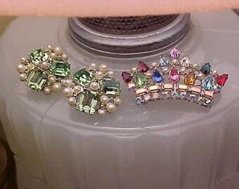 Lot Vintage Rhinestones RARER Charel Earrings & B. David Queen Hearts Crown Pin