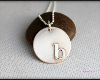 Initial Necklace, Soldered Initial Necklace, Gold Filled, Dog tag Necklace, Large Disc Necklace, Gold Initial Necklace, Mama Mia
