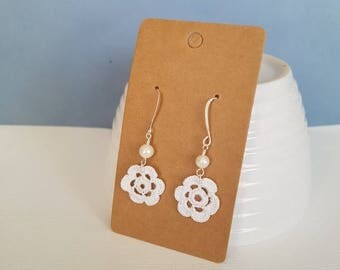 CLOSING SALE Tiny crochet flower dangle earrings, with freshwater pearl.