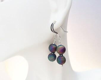 Druzy Agate Earrings - Druzy Earrings - Titanium Agate Earrings - Agate Stone Earrings - Geode Earrings - Druzy Agate Jewelry