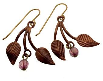 Vintage brass copper drops, brass dangle earrings, vintage copper leaves, heirloom quality brass earrings, vintage brass and czech glass