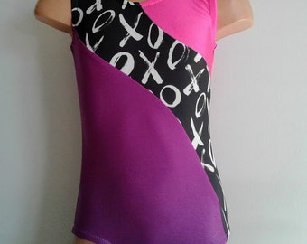 Gymnastic Dance Leotard with XOXO Insert. Toddlers Girls  Gymnastics Leotard. Performance Leotard.   Sizes 2T - GIRLS 12