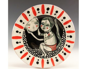 Moon in Hand - Original painting by Jenny Mendes on a round ceramic kiln fired, dessert tapas plate