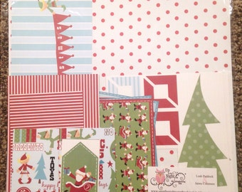 Scrapbook Paper Embellishment Kit Christmas 12x12 premade
