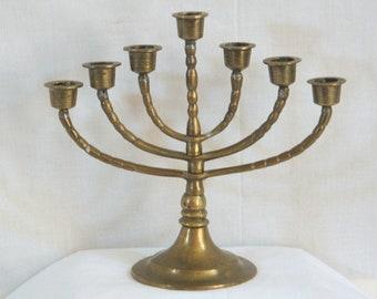 Brass Menorah Candle Holder 7 Arm