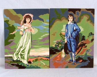 Vintage Paint By Number Paintings, Pinkie and Blue Boy 2 paintings