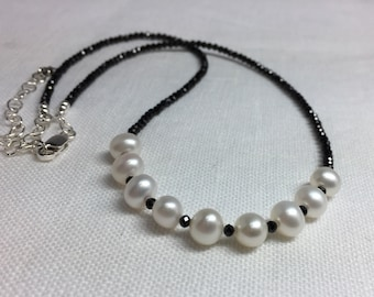 Black Spinel and Freshwater Pearl Necklace in Sterling Silver