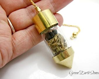 Chambered Vial Pendulum, Dowsing, Divination, Metaphysical, Intuition, Black Tourmaline, Mugwort