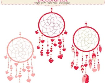 ON SALE Valentines Dreamcatcher clipart, Valentines day clipart, Hearts Dreamcatcher tribal clipart, clipart