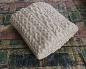 Chunky Hand Knit Blanket, White 48x60