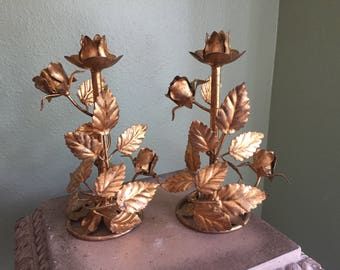 Gold tole italian candle stick holders with roses