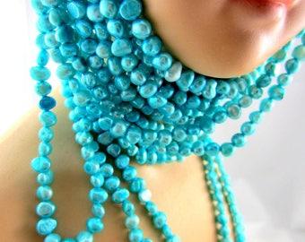 Aqua Freshwater pearls natural rustic  nugget pearls baroque blue beads 14' strand 6mm-7mm Bus803(N4)