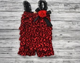 Ladybug Petti Romper- Red and Black Petti Romper- Romper-Polka Dot Romper-1st Birthday Romper-Photo Prop