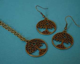 Tree of Life Necklace and Earrings Set Antique Bronze Trees (AB16)