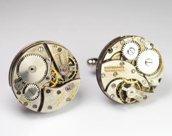 Steampunk Cufflinks - Large Vintage Swiss Watch Movement Mens Gear Cuff Links by Steampunk Vintage Design