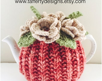 Speckled Sunset - Hand knit Floral Tea Cosy - in Pure Wool - Size Medium - fits standard 4-6  cup teapots