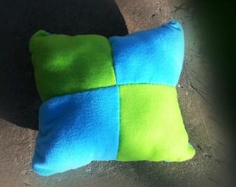 Solid Blue/Lime Green Fleece Four Squares Pillow, Checkered Pillow, 14 inches, Fleece Pillow, For Anyone, Blue, Green, Home Decor