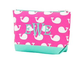 Whales Accessory Bag Women's Monogrammed Whale Collection Beach Cosmetic Case Cruise Tote Personalized