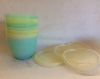 Set of 7 Pastel Tupperware Refrigerator Bowls