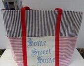 Home Sweet Home Tote / Vintage Trimmed Market Bag