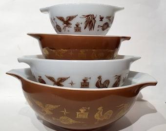 Vintage Pyrex 4 Four Mixing Bowl Set  Brown Gold White Farmhouse Chickens Coffee Grinder Bird Eagle Teapots Corn Retro Kitchen Decor