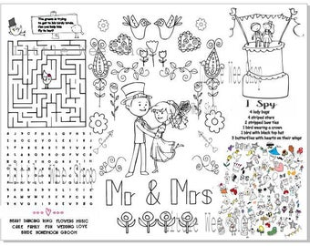 printable bride and groom wedding party favor kids coloring page activity pdf instant download printable wedding - Wedding Coloring Pages