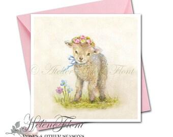 Carte Impression tableau peinture Country chic agneau couronne Campagne Bébé Naissance Print Printemps© Hélène Flont Designs