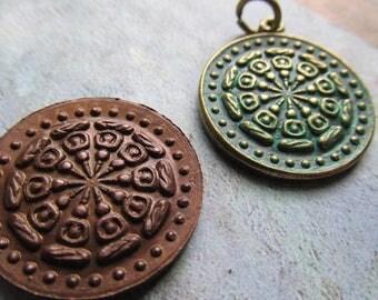 Choice of Buddha Wheel Pendant, Buddha Wheel Amulet, Buddha Wheel, Buddha, Patina, Brass Pendant
