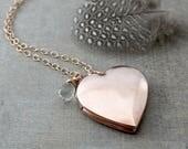 Rose Gold Locket Necklace, Rose Gold Heart Locket, Rose Gold Necklace, February Birthstone Locket, Gold Photo Locket, Gold Picture Locket