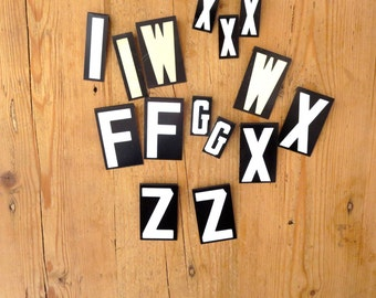 15 Bargain vintage letters Black and White Letters Capital letters Sign letters F W I X Z G Vintage initial Cheap letters Destash