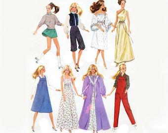 1980s Barbie Wardrobe Pattern Fashion Doll Jumpsuit Knickers Jumper Nightgown Dress Blouse Mini Skirt Simplicity 6369 Vintage Sewing Pattern