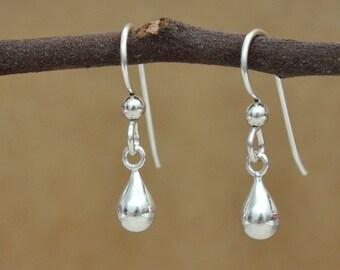 sterling silver earrings, modern, minimalist, everyday, dainty, RAINING DAY, teardrop, rain drop, clear water, petite water drop earrings