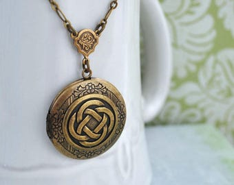 THE ETERNAL KNOT celtic knot locket necklace in antique brass