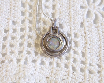 Vintage Abalone Silver necklace -