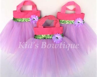 3 Pink Fairy Flower Princess Party Favor Tutu Bags - Birthday Tutu Gift Bags - Flower Girl Purses
