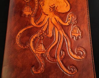 Handmade Leather Octopus Journal Cover with Journal (Ready to ship)