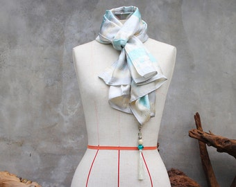 Oriental cream, grey &  baby blue silk scarf with beaded tassel charm
