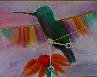 "Hummer Flight Original Oil Painting Clock, 6"" x 8"" x 2"", CP2"