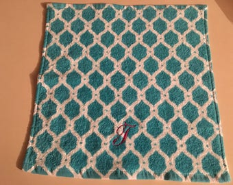Blue Embroidered Trellis Washcloth
