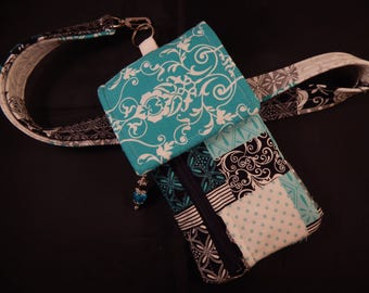 Turquoise Black Quillted Look Print Cell Phone Lanyard Wallet Wristlet Organizer Tote