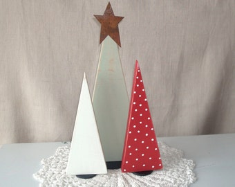 Rustic Wooden Christmas Tree Shelf Decoration, Wooden Tree Shelf Ornament, Agave Red and White Christmas Decor - CD001