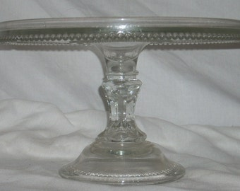 EAPG Glass Large Size Beaded Edge Wedding Cake Stand with Rum Well