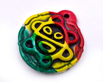 Rasta  Pendants, 3pcs, 38mm,  Resin Pendant, Pendants for Hemp Necklaces - P28