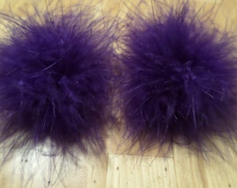 A Pair of Marabou Feather Puff Hair Clips With No-Slip Grips Dark Purple