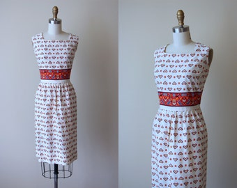 1950s Dress - Vintage 50s 60s Dress - Novelty Print Dutch Hearts People Flowers Cotton Day House Dress M L - Home and Hearth Dress