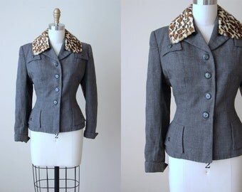 1940s Jacket - 40s Vintage Suit Jacket Gunmetal Grey w Leopard Faux Fur Collar S M - The Crescent Room Jacket